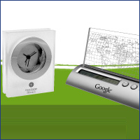 Trade show items such as clocks and calendars