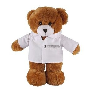 Soft Plush Mocha Teddy Bear in Doctor's Jacket 12