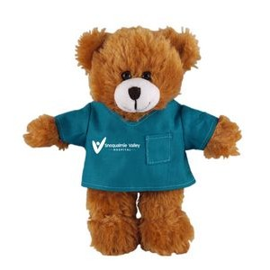 Soft Plush Mocha Teddy Bear in Scrub Shirt 12