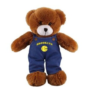 Soft Plush Mocha Teddy Bear in Denim Overall 12